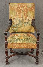 Tapestry Arm Chair with Figural Carving