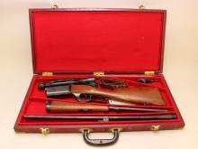 Savage Model 1899 lever action cased combination rifle/shotgun takedown set.