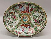 Chinese Rose Medallion Porcelain Oval Dish
