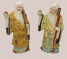 Two Chinese Porcelain Gods of Longevity