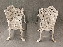Pair of Cast Iron Benches, Grapevine and Cluster Pattern 29