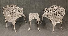 3 Piece Cast Iron Table and Settees,