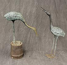 Pair of Herring Scultures, Verdigris-Green Patina, One on a Stand 34