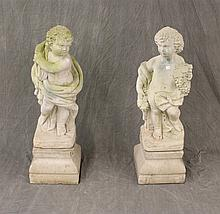 Pair of Concrete Statues of Two Boys, 37