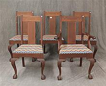 Set of 5 Dining Chairs, Mahogany with Line Inlay, Ball and Claw Feet, Needle Point Seats, (1) Arm Chair 39