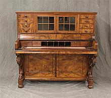 Victorian Piano Desk, Burl Wood and Veneer, 53