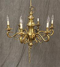 Chandelier, Solid Brass with Duck Head Arms, with Six Light Fixtures, 24
