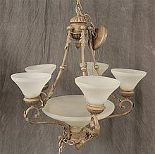 Chandelier, Contemporary 5/1 Light with Frosted Globes, 32