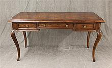Henredon Fine Furniture, Country French Desk, Walnut with One Center Drawer and Two Side Drawers on Cabriole Legs, 30 1/2