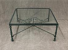 Coffee Table, Green Enameled Wrought Iron with Glass Insert and Leaf Motif, 16 1/2