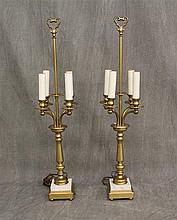 Pair of Brass / Marble Candelabra Table Lamps, No Shades 33