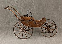 Antique Children's Carriage, Single Spoke Wooden Wheels, Turned Handle, 32