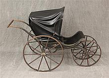 Antique Children's Amish Style Carriage, Metal Rims on Single Spoke Wooden Wheels, 37
