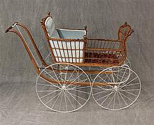 Antique Children's Carriage, Wicker Frame, and Double Spoked Metal Wheels, Missing Parasol 38