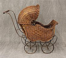 Antique Doll Carriage, Wicker Frame with Moveable Hood, Metal Rimmed Rubber Tires on Double Spoke Metal Wheels, 28 1/2
