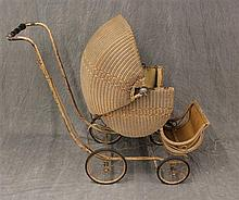 Antique Children's Wicker Stroller on Metal Frame, (Rust) 35