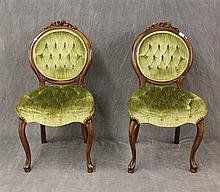 Pair of Victorian Style Chairs, Walnut, 37