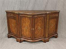 Baker, French Style Sideboard, Demilune with Serpantine Front,  Walnut, Four Doors, Two Drawers, 35