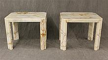 Pair of Marble End Tables, White with Brown Viens, 23 1/2