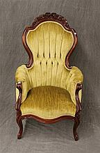 Victorian Style Arm Chair, Mahogany Carved Floral Design, 43