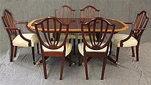 Baker, Sheraton Style 7 Piece Dining Suite, Double Pedestal  Mahogany Table with Banded Inlay, with Leaves and Pads, 29