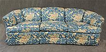 Kindel Sofa,  Demilune, Three Section with Blue Floral Print Design, 29