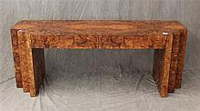 Burlwood Veneer 2 Drawer Console Table, 24