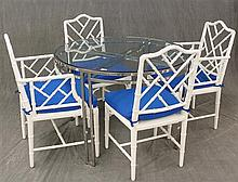 6 Piece Breakfast Suite, (1) Chrome Base Glass Top Table, 29