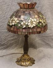 Leaded Slag Glass Table Lamp