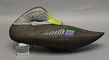 Black Duck, signed by Capt. Harry Jobes-1988 sleeper pose, scratch painting lead weight and anchor rin