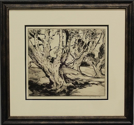 Framed Etching - Landscape with Trees by Alfred Hutty