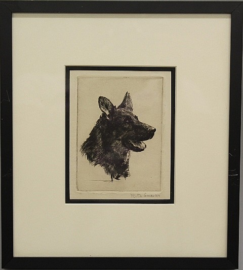 Framed Etching - German Shepard Dog by Rita Swann