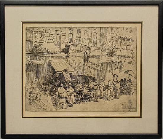 Framed Etching - Canal Street Market, NYC by Irving Wolfson