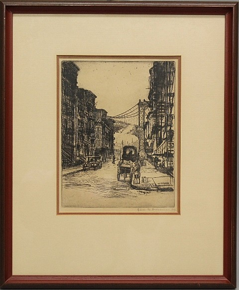 Framed Etching - Bridge Street, NYC by Elias M. Grossman
