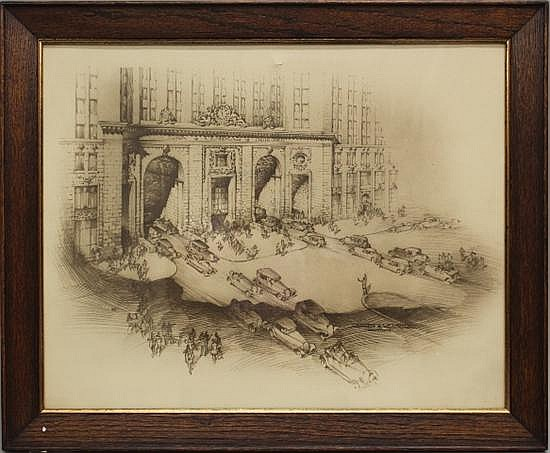 Framed Sketch - Sepia Toned NYC Central Building by Warren & Wetmore Architects