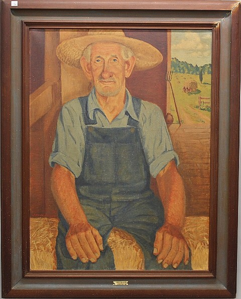 Portrait of Farmer John Hillpot by Arnold Todd - O/C