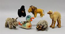 LOT OF (6) VINTAGE STEIFF MOHAIR ANIMALS -  4 1/2