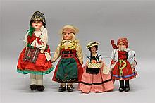 LOT OF (4) 1930's-1940's ALL ORIGINAL DOLLS FROM OTHER COUNTRIES: (2) CELLULOID, (2) PAPIER MACHE. Celluloid - 6 1/2