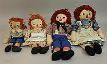 LOT OF (2)PAIRS OF ALL ORIGINAL TAGGED GEORGENE NOVELTIES RAGGEDY ANN AND ANDY DOLLS: 15