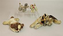LOT OF (4) UNMARKED STEIFF MOHAIR DOGS: GERMAN SHEPHERD, SLEEPING SPANIEL, POODLE, TERRIER. 10