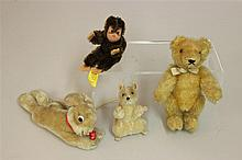 LOT OF (4) STEIFF MOHAIR ANIMALS: MOUSE, CHIMP, RABBIT, ORIGINAL TEDDY BAR. All of the animals have swivel heads except the mouse. 3...