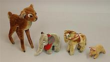 LOT OF (4) STEIFF ANIMALS: PIG, ELEPHANT, PONY, FAWN. Mohair - 5