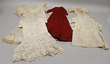 LOT OF (5) ANTIQUE COTTON DOLL DRESSES.  White - 9