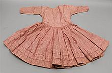 CHILD'S ANTIQUE FLORAL PRINT COTTON DRESS. Late 1800's Rose colored pattern on a lighter pink background. 21