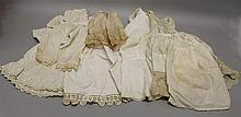 LOT OF ANTIQUE WHITE COTTON DOLL UNDERWEAR. (4) Petticoats 12