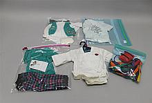 AMERICAN GIRL - (4) BAGS OF AMERICAN GIRL TODAY OUTFITS: 1999 BOXER PAJAMAS; 1999 GIRL SCOUT UNIFORM; (3) PROUD TO BE AN AMERICAN GI...