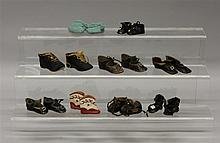 LOT OF (9) PAIRS OF ANTIQUE/VINTAGE DOLL SHOES, BOOTIES.Black oilcloth - 1 3/4