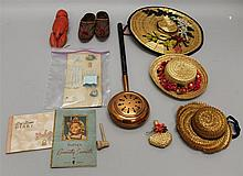 LOT OF MISC. ANTIQUE/VINTAGE ACCESSORIES: DOLL HATS, SHOES, COPPER BED WARMER, MINI TOILETTE, MISC.  Doll hats - (3) straw & purse. ...
