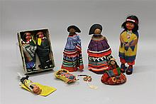 LOT OF (9) ALL ORIGINAL NATIVE AMERICAN DOLLS - PAPOOSE, SKOOKUM/TYPE, FLORIDA SEMINOLE, HOPI KACHINA DOLL.  (3) Skookum type - Unma...
