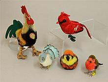 LOT OF (5) TAGGED STEIFF ITEMS: MOHAIR ROOSTER AND CARDINAL; (3) WOOL POM BIRDS. 6